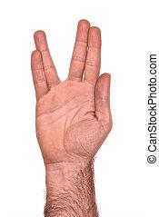 vulcan hand salute against white
