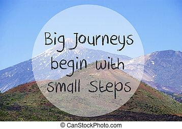 vulcano, berg, noteren, groot, reizen, beginnen, kleine, stappen