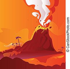 vulkán, égető, láva