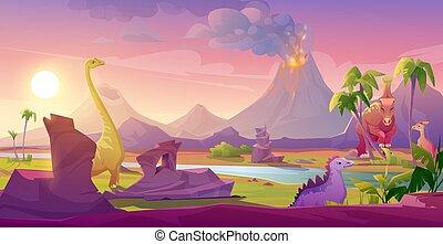 vulkán, dinoszauruszok, táj, kibújik, tropikus