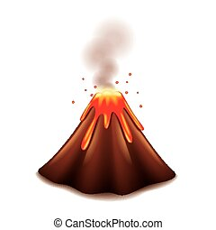 vulkán, fehér, vektor, elszigetelt
