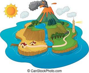 vulkán, gyönyörű, sziget