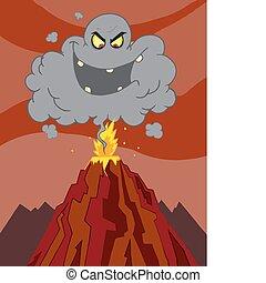 vulkán, kibújik, felhő, felül