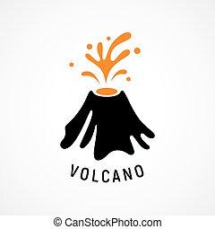 vulkán, kibújik, ikon