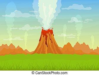 vulkán, kibújik, láva