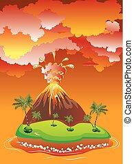 vulkán, kitörés, karikatúra