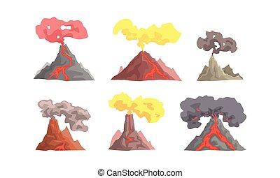 vulkán, kitörés, lefelé, vektor, magma, ábra, gyűjtés, fújás...