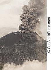 vulkán, kitörés, tungurahua, erős