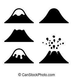vulkán, set., vektor, ikonok
