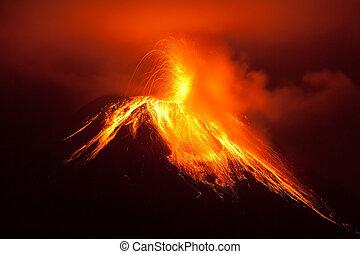 vulkán, tungurahua, kitörés, erős, éjszaka