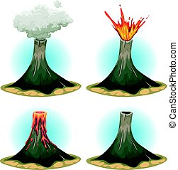 vulkaan, bergen, set