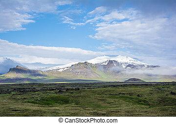 vulkaan, snaefell, op, de, westelijk, einde, van, ijslands,...