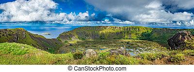vulkan, krater, breit, panorama, rano, ultra, kau