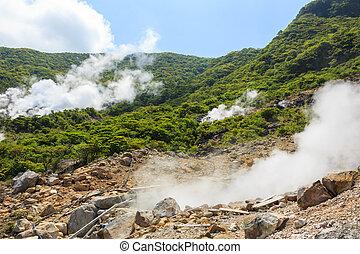 vulkanisch, owakudani, (, heiß, s, aktive, schwefel, tal
