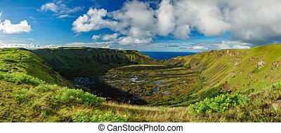 vulkanisch, rano, krater, panoramisch, kau, ganz, ansicht