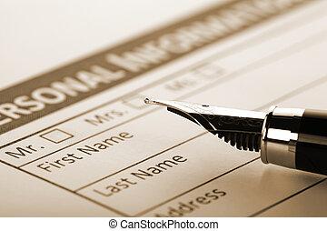 vullen, document, vorm