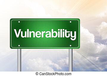 vulnérabilité, juste, devant, vert, panneaux signalisations, concept affaires
