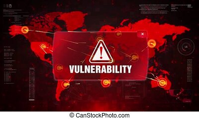 Vulnerability Alert Warning Message Attack on World map. Wire frame Radar Network Seamless loop Motion Background. UI Elements HUD Sci Fi interface.