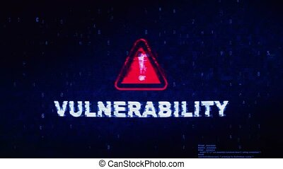 Vulnerability Text Digital Noise Glitch Effect Tv Screen Background. Login and Password With System Error Security ,Hacking Alert , Cyber Crime Attack Computer Error Distortion Message .