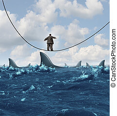 Vulnerable business concept as an overweight unfit businessman walking on a sinking highwire with dangerouse sharks ready to attack as a metaphor for financial vulnerability in a competitive economic environment.