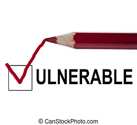 Vulnerable message and red pencil