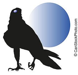 vulture against a blue moon vector
