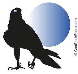 vulture against a blue moon vector