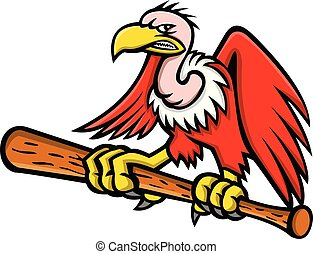 vulture-baseball-bat-MASCOT - Mascot icon illustration of a...