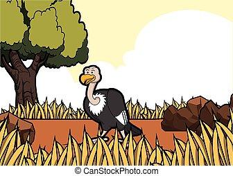 vulture savanah safari scene