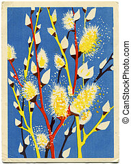 vuntage postcard - willow twigs blown - picture artist...