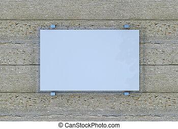 vuoto, 3d, interpretazione, wall., segno