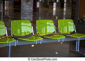 vuoto, aeroporto, sedia