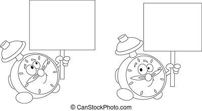 vuoto, allarme, segno, delineato, orologio