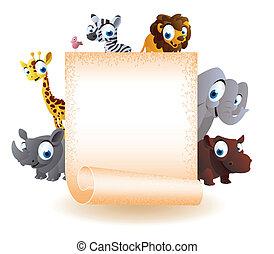 vuoto, animali, asse, cartone animato