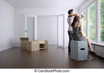 vuoto, appartamento, con, uno, giovane coppia