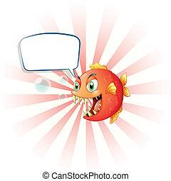 vuoto, arrabbiato, callout, piranha