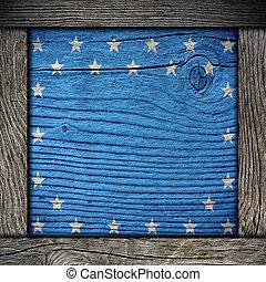vuoto, asse legno, con, bandiera americana, colori, con, cornice