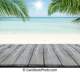 vuoto, assi legno, con, offuscamento, spiaggia, sullo sfondo
