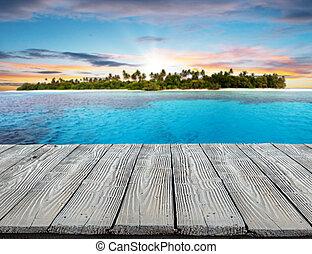 vuoto, assi legno, isola tropicale, sullo sfondo