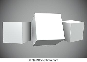 vuoto, bianco, 3d, cubi, con, spazio copia, vettore, template.