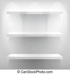 vuoto, bianco, mensola, per, esibire, con, light., +, eps10