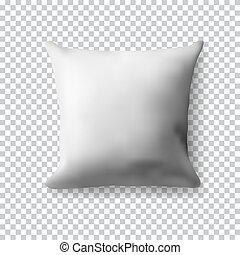 vuoto, bianco, quadrato, cuscino, su, trasparente, fondo., realistico, vettore, illustration., realistico, vuoto, sagoma, per, tuo, design.