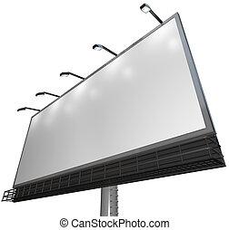 vuoto, bianco, segno, -, annuncio pubblicitario, di, prodotto, su, tabellone