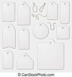 vuoto, bianco, set, etichetta, cartoni