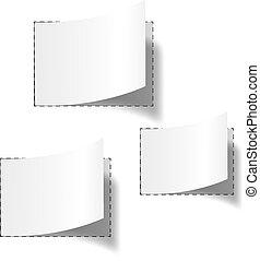 vuoto, bianco, set, tre, etichette