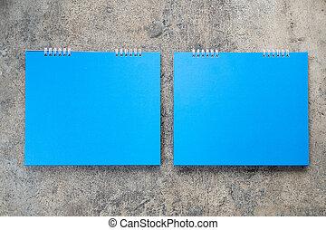 vuoto, blu, calendario, carta, scrivania, spirale