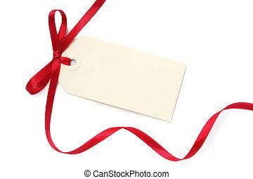 vuoto, cartellino regalo, con, arco