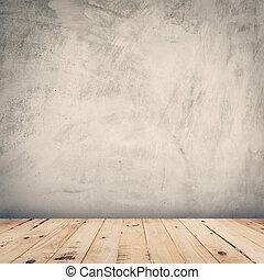vuoto, cemento, parete, e, pavimento legno, fondo, con, spazio