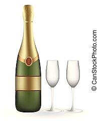 vuoto, champagne, due, bottiglia, occhiali