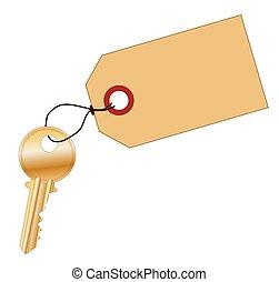 vuoto, chiave, etichetta, ottone, chiavistello